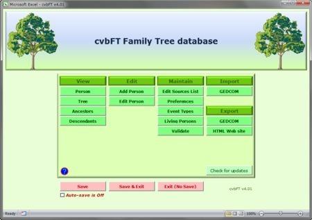 cvbFT - Family Tree Database